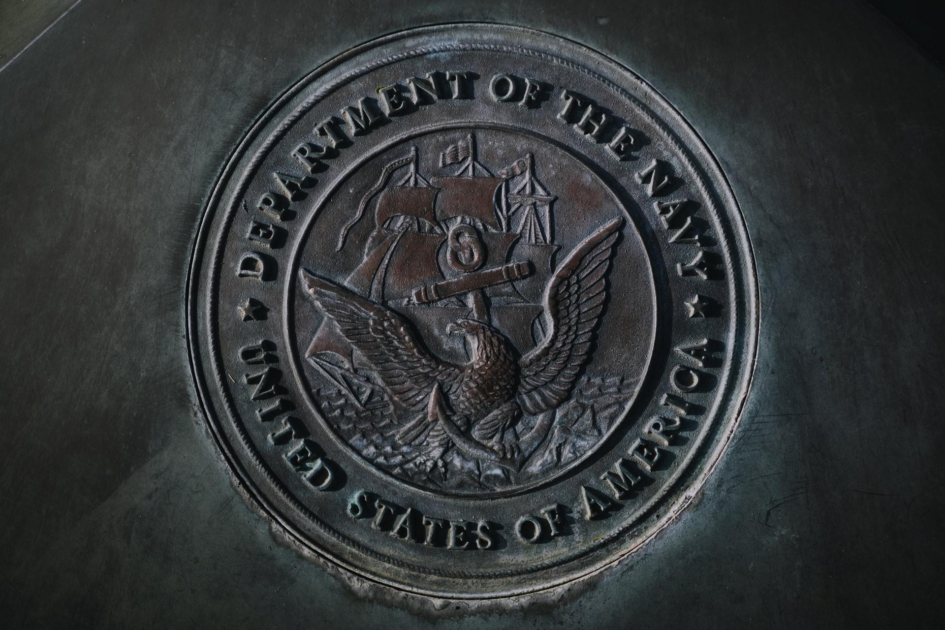 Seal of the Navy, at Wesley Bolin Memorial Plaza.