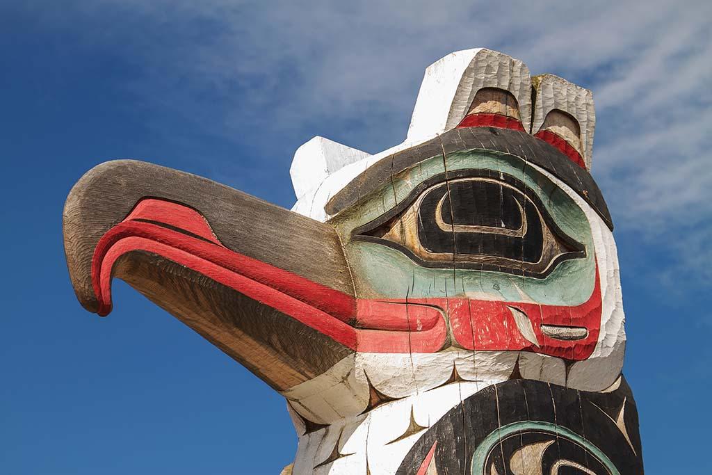 Detail of totem pole in Alaska